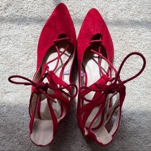 Red lace up sandals